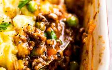 close up photo of homemade shepherd's pie filling