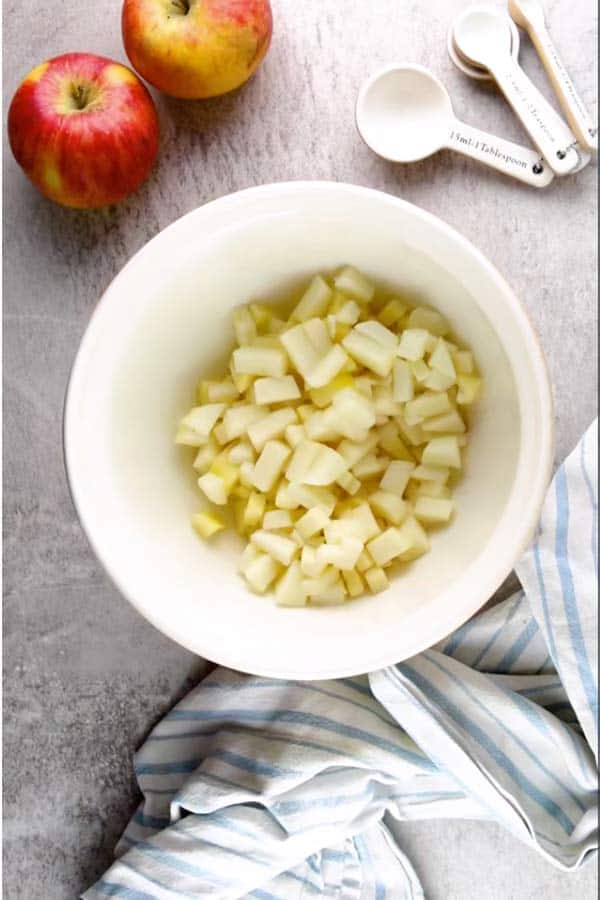 bowl with cut up apples