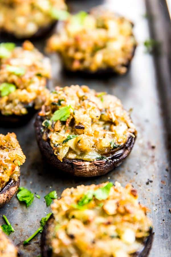 Garlic Parmesan Easy Stuffed Mushrooms are a fun and easy party appetizer. Perfect for the holiday season!