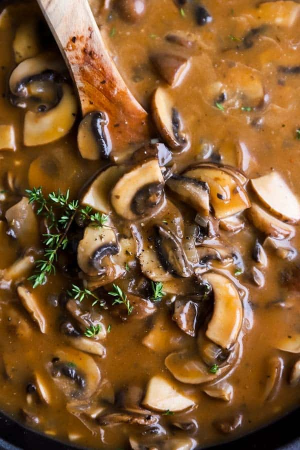 close up photo of mushroom gravy