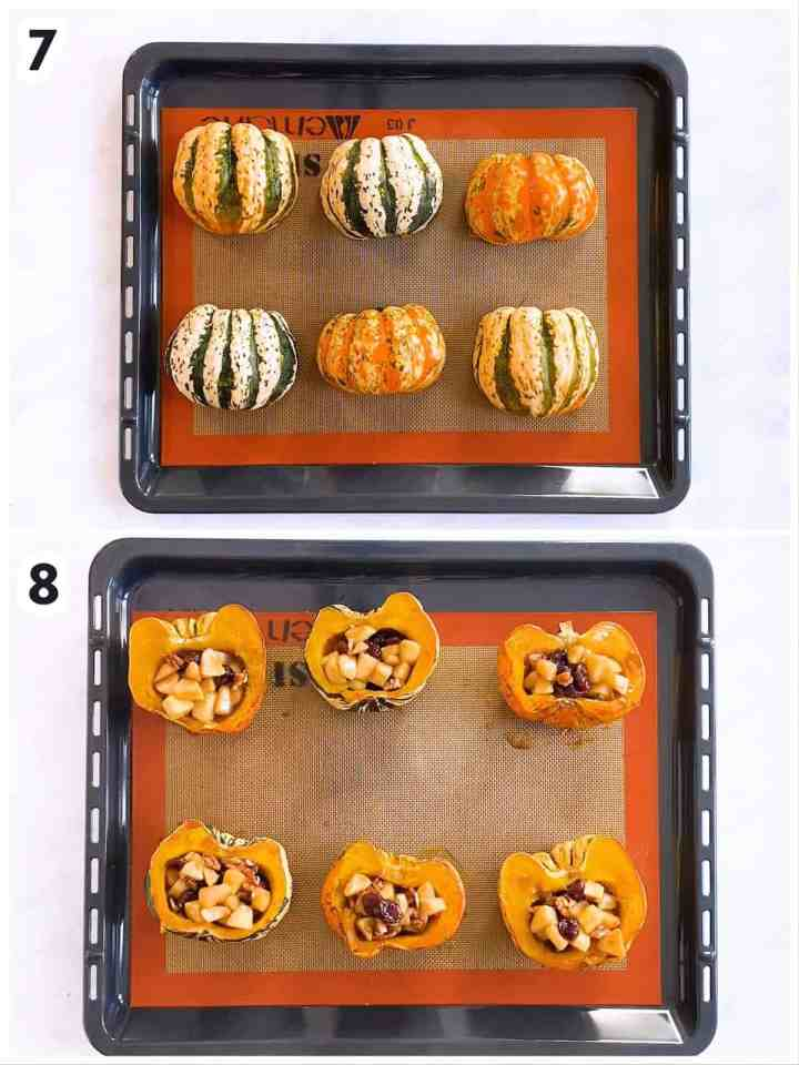 collage to show how to fill acorn squash halves