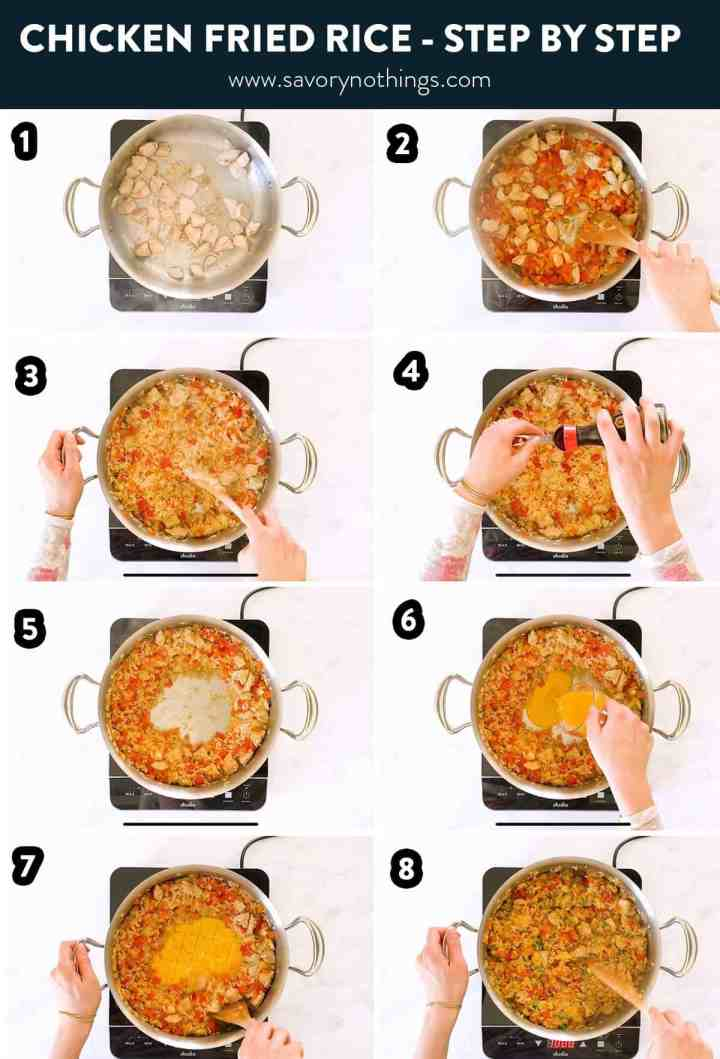 collage of steps to make chicken fried rice