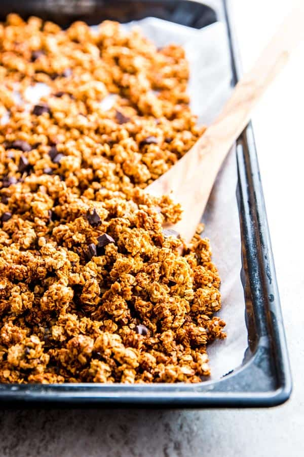 Peanut Butter Granola on a baking sheet.
