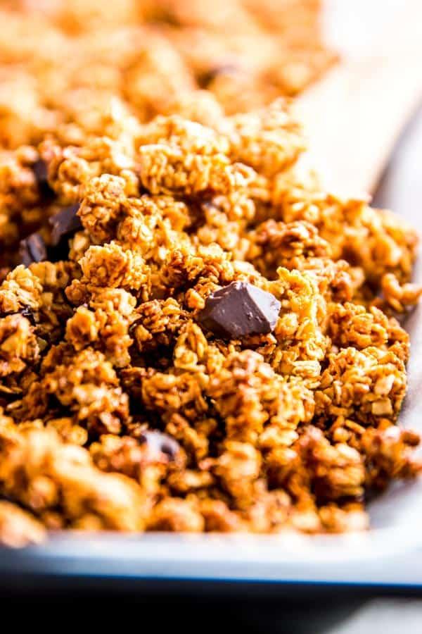 Dark chocolate chunks in peanut butter granola.