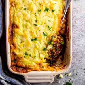 top down view on shepherd's pie in casserole dish
