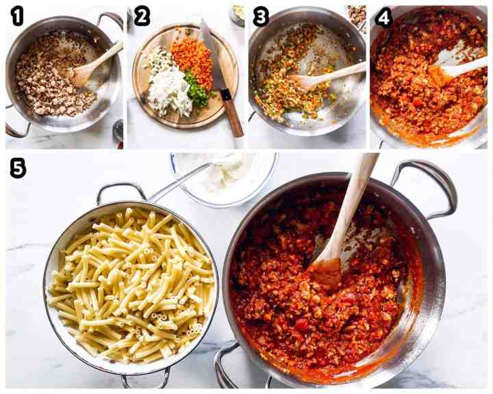 collage of steps to make baked ziti