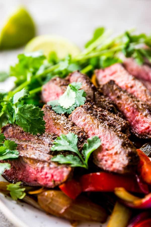 Sliced steak for steak fajitas.