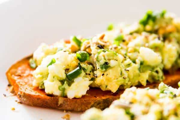 Avocado Egg Salad on sweet potato toasts.
