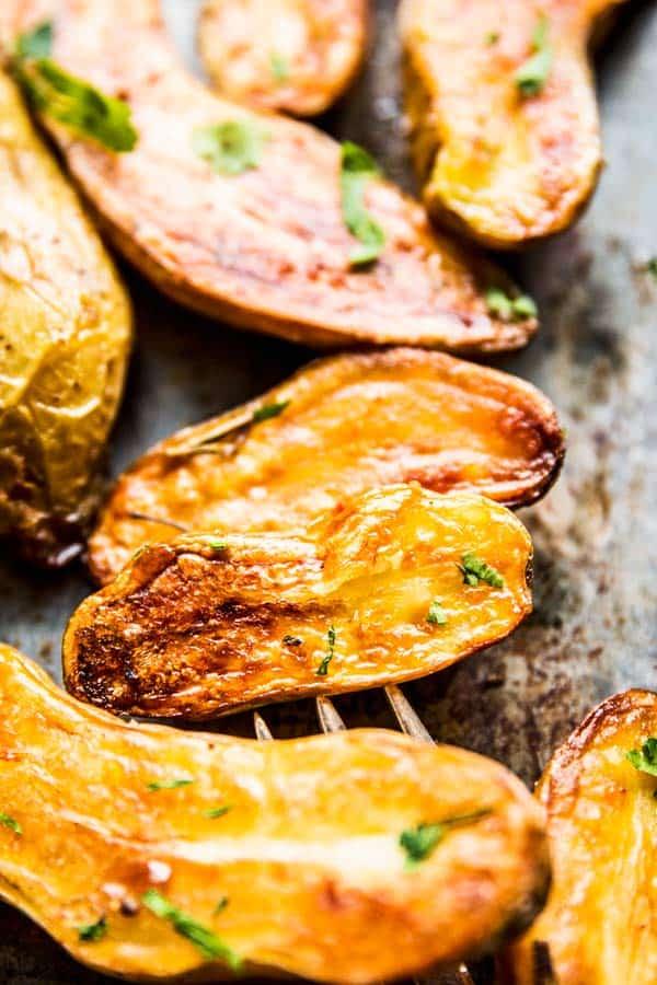 Close up photo of Roasted Fingerling Potatoes.