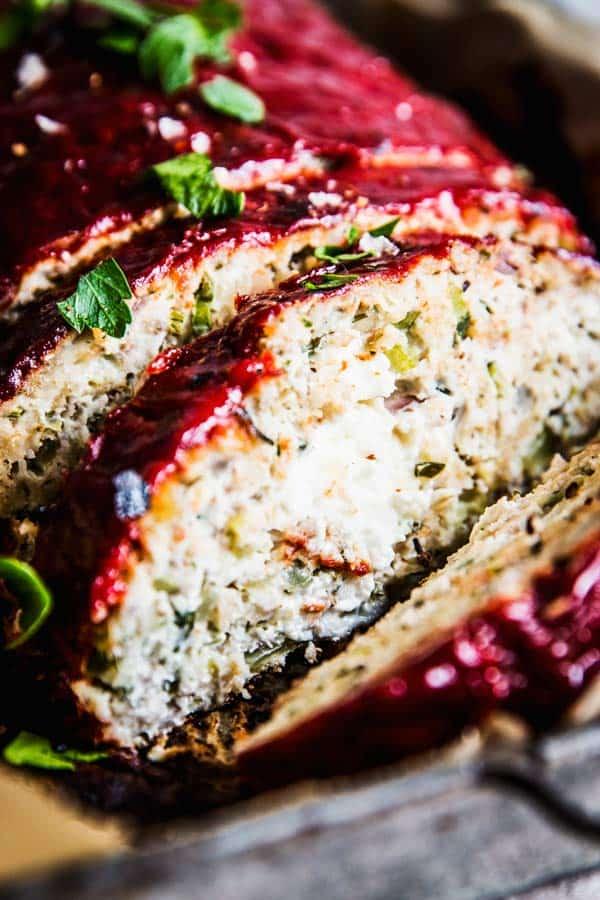 turkey zucchini Meatloaf with feta stuffing