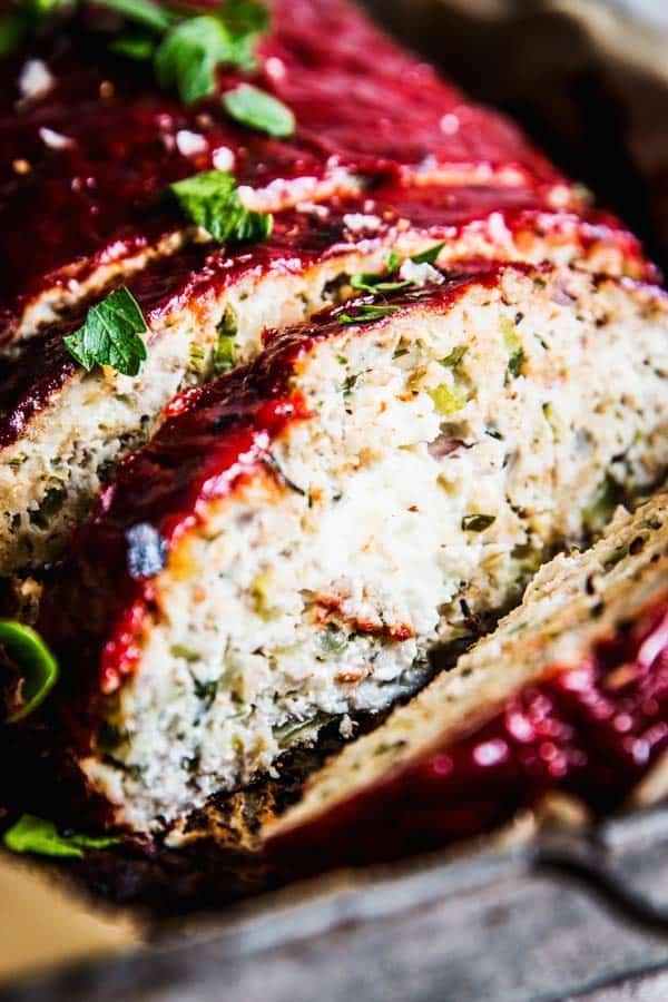 turkey zucchini Meatloaf with feta stuffing