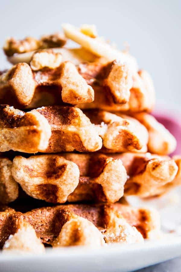 Stack of banana nut waffles.