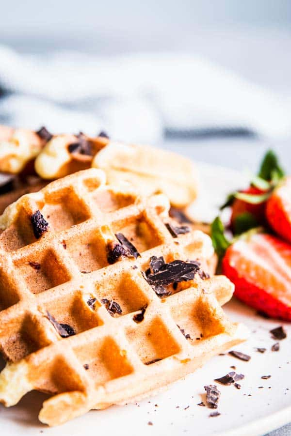 Close up photo of chocolate chip waffles.