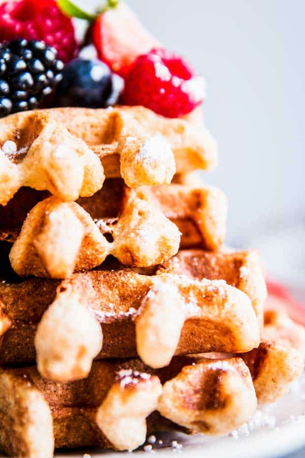 Close up photo of Fluffy Whole Wheat Waffles.