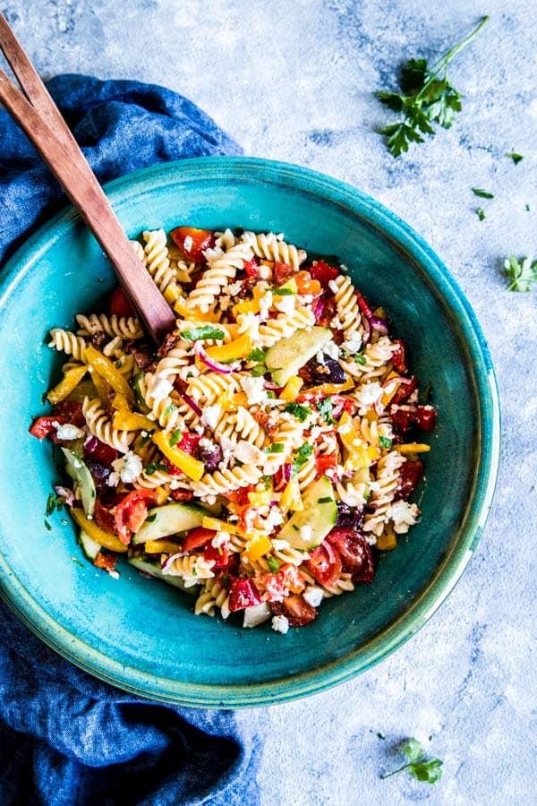 Greek pasta salad in a large bowl