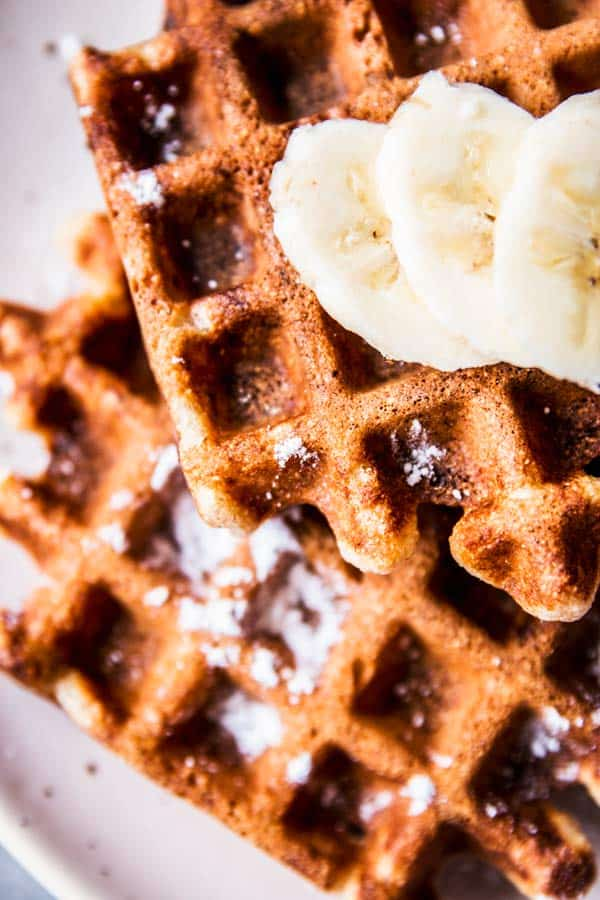 Close up photo of healthy banana waffles.