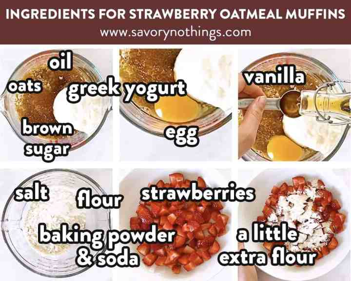 collage of images of labelled ingredients for strawberry oatmeal muffins