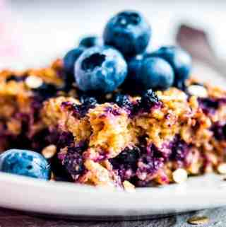 blueberry baked oatmeal on a plate