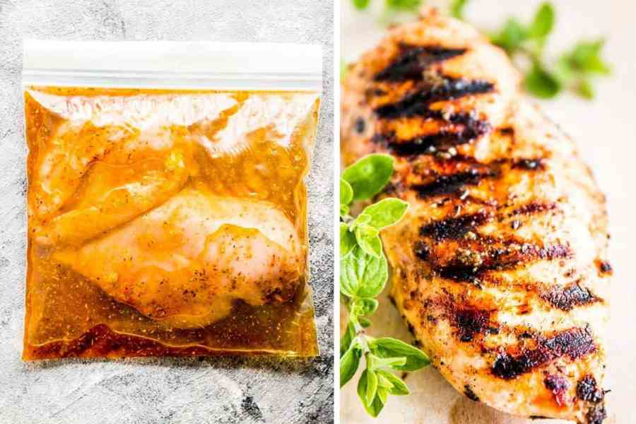 collage image with ziplock filled with greek chicken in marinade on the left, and a grilled chicken breast on the right