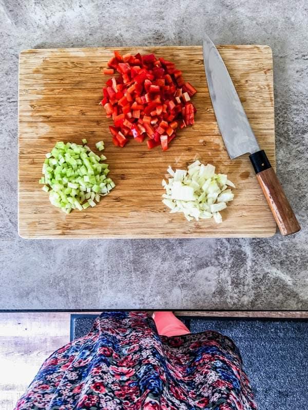 diced vegetables for sweet potato turkey taco pasta