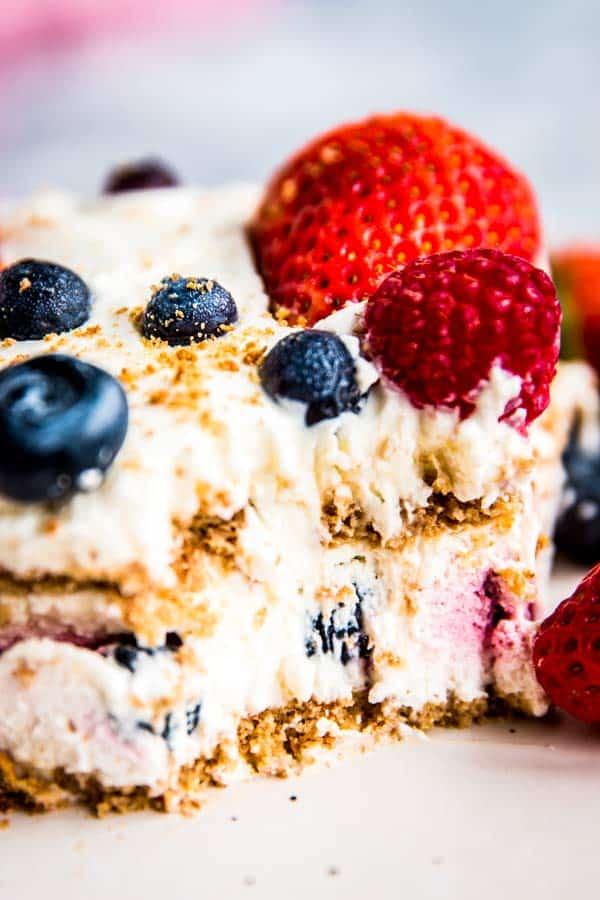 closeup of a slice of icebox cake
