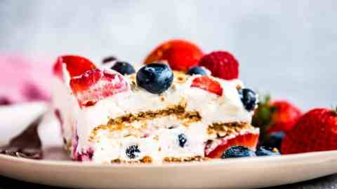 keto low carb triple berry icebox cake on plate