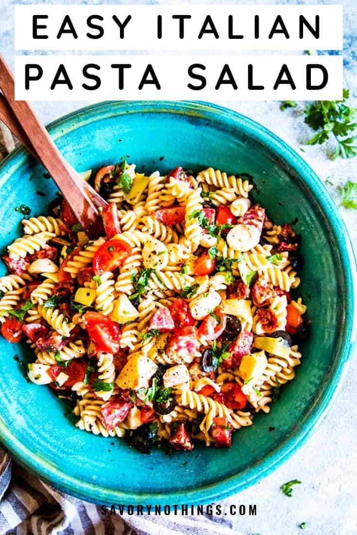 Are you looking for an easy side dish to bring to your next potluck or backyard BBQ? This easy Italian Pasta Salad is just what you need! It's so quick to put together, but tastes truly special. So many delicious things go into this - salami, mozzarella, olives, tomatoes and more. People RAVE about this salad and call it the best ever. | #recipe #easyrecipes #summer #summerrecipe #bbq #potluck #picnic #4thofjuly #sidedish #pasta