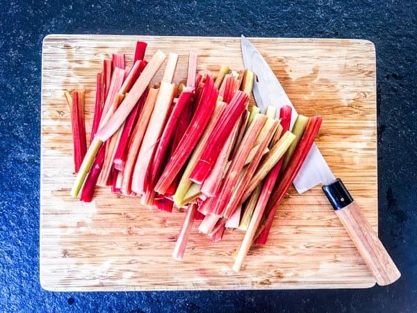 sliced rhubarb for galette