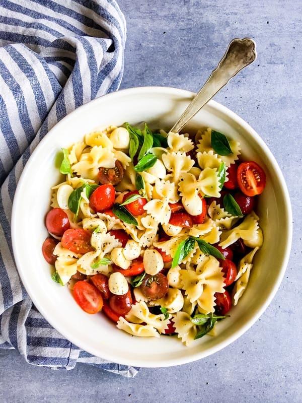 caprese pasta salad in a bowl