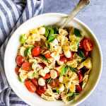 caprese pasta salad in a bowl