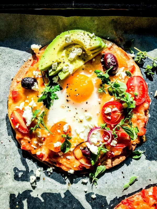 Mexican breakfast pizza on a sheet pan