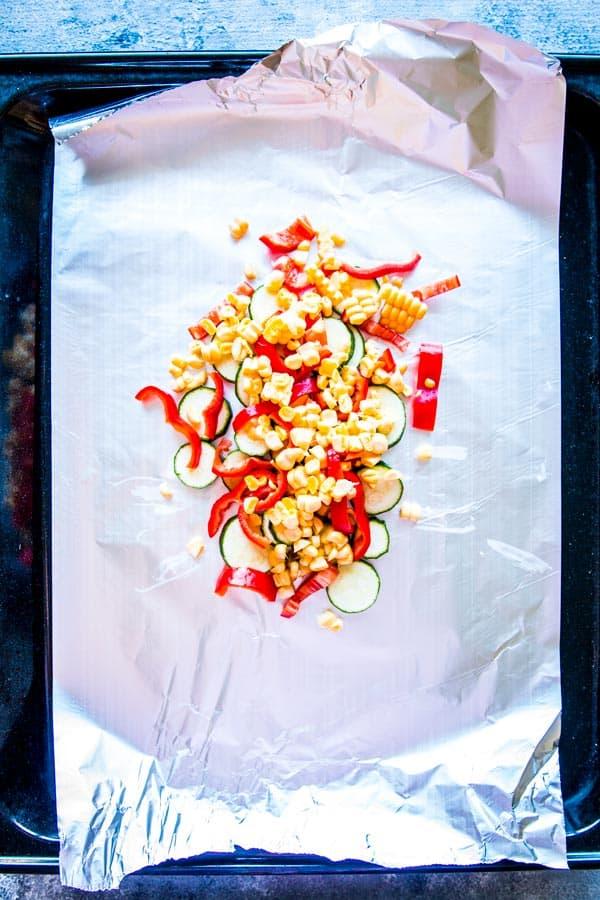 veggies on foil for salmon foil packets