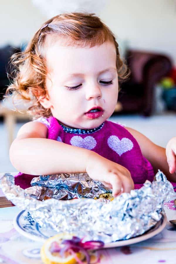 girl eating dinner
