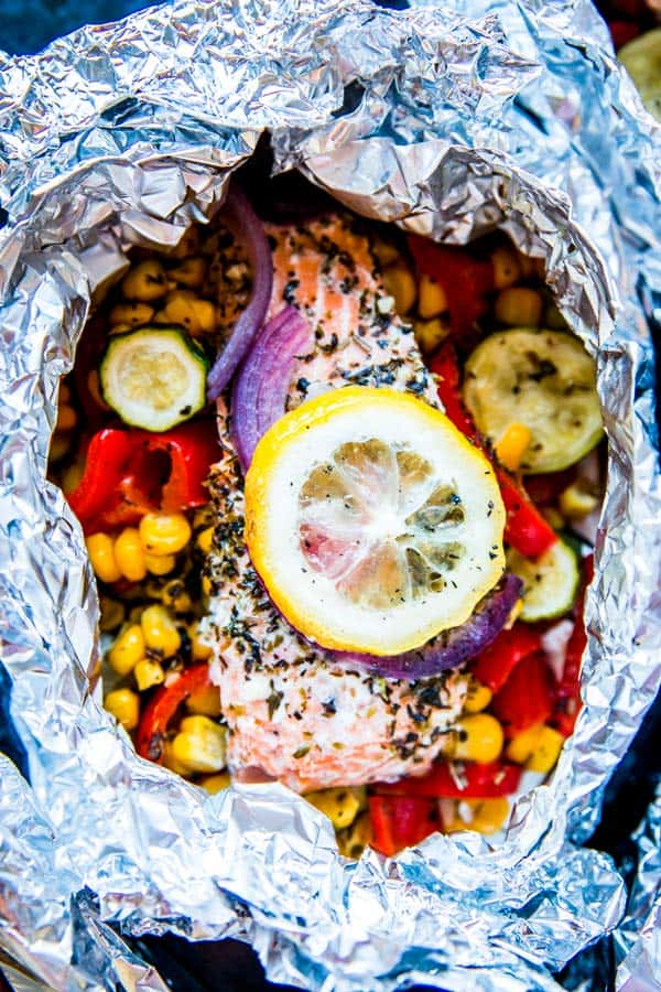 salmon foil packet from the grill