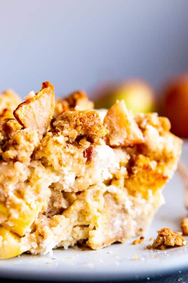 close up of apple French toast bake