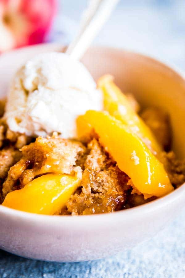 close up photo of fresh peach cobbler
