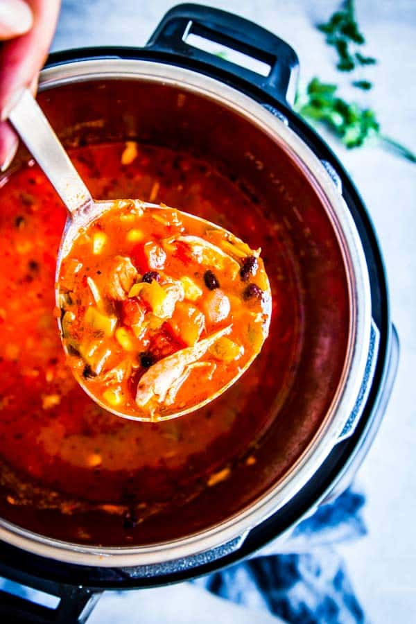serving chicken tortilla soup from the instant pot