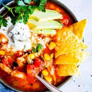 close up photo of chicken tortilla soup