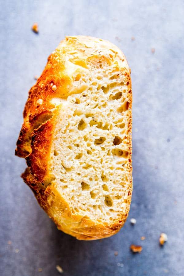 inside of no knead bread