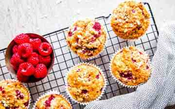Raspberry Oatmeal Muffins Image TK