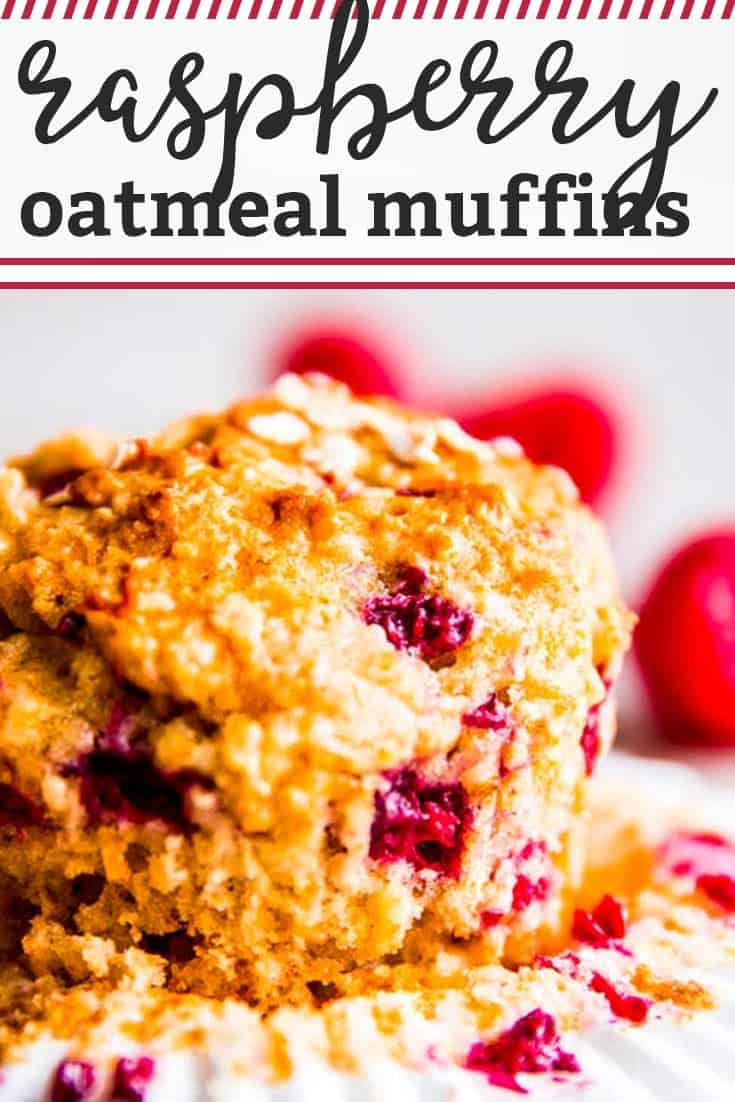 Raspberry Oatmeal Muffins are an easy breakfast idea full of healthy oats, raspberries and Greek yogurt. Tuck them into a lunch box or use them as a quick and fuss-free school morning breakfast - your kids are going to love these! | #recipe #easyrecipes #breakfast #baking #muffins #raspberry #raspberries #kidfriendly #backtoschool #lunchbox #lunchideas #lunch #quickrecipes #healthy #healthyfood #healthyrecipes #healthyliving #healthybaking #brunch #brunchrecipes #breakfastrecipes
