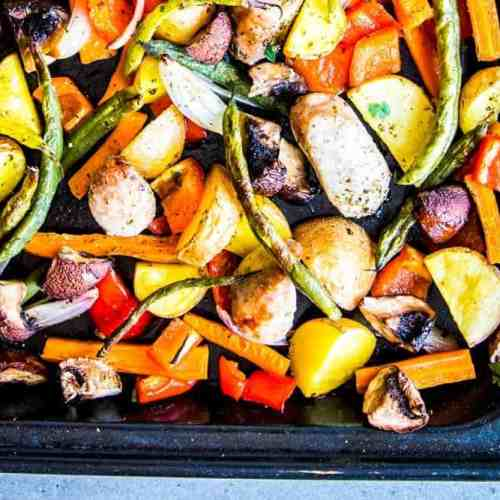 Sausage Potato and Vegetables Sheet Pan Dinner Image TK