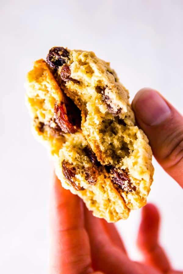 halved oatmeal raisin cookie