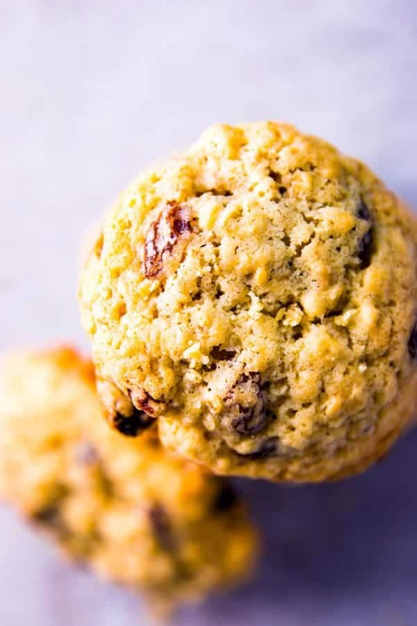 looking at an oatmeal raisin cookie from above