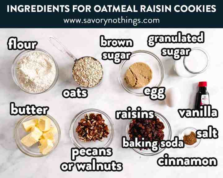 ingredients for oatmeal raisin cookies with text labels