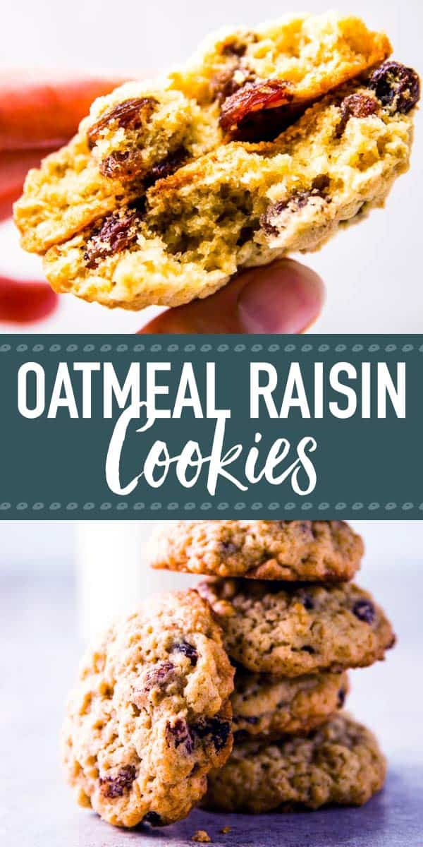 Oatmeal Raisin Cookies are an easy baking recipe for a delicious homemade treat. Try them this weekend - they bake up so soft and make your home smell amazing! These are great for Christmas or just because - cookies are always a good idea. | #recipe #easyrecipes #cookies #oatmealcookies #christmas #baking #bakingrecipes #dessert