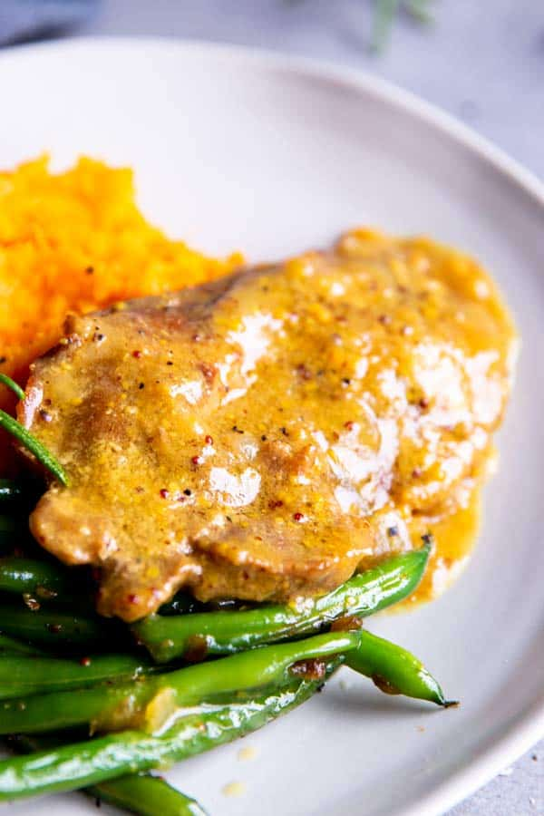 close up photo of instant pot honey mustard pork chops