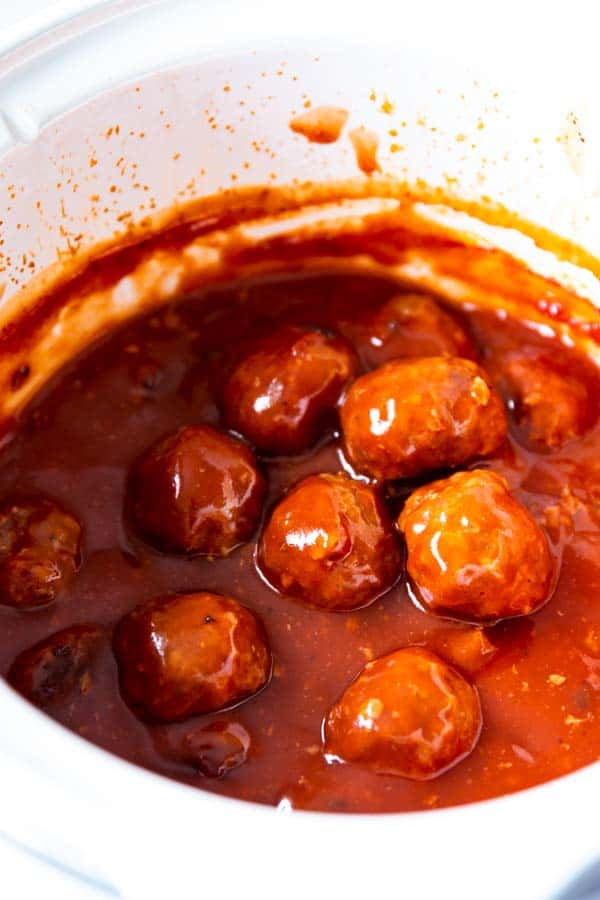 crockpot filled with cranberry bbq meatballs