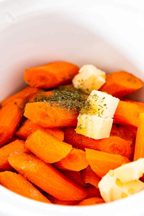 raw carrots with butter in the crockpot