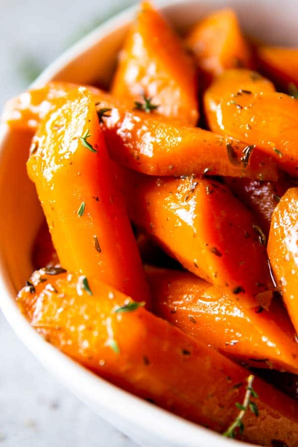 close up photo of honey butter glazed carrots